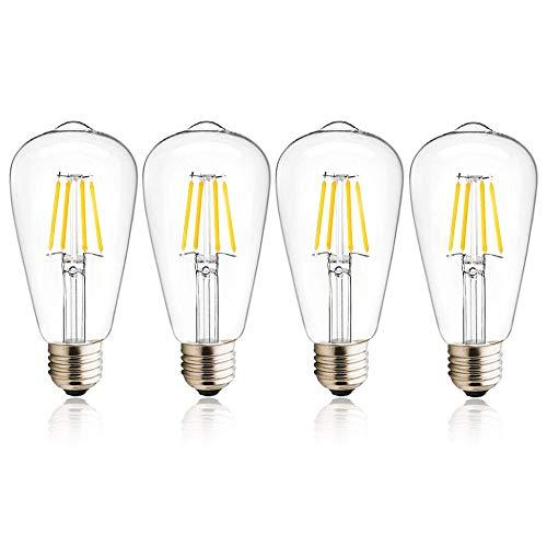 Luxvista 4W E27 ST64 Ampoule LED à Filament 12-36V Basse Tension, Edison Vis E27 Ampoule LED Vintage 400 lumen équivalent 40W Halogène, Idéal pour RV Yacht (Lot de 4, Blanc Chaud 2700K)
