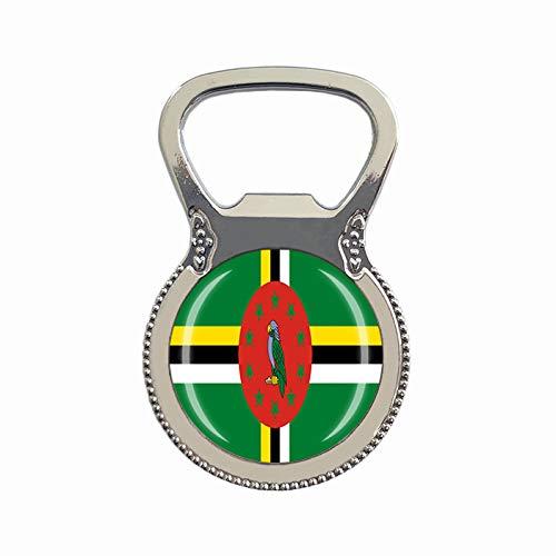 Dominica-Flagge Bierflaschenöffner Kühlschrank Magnet Metall Glas Kristall Reise Souvenir Geschenk Heimdekoration