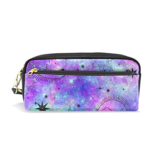 Federmäppchen Astrologische Galaxie Druck Mond Sterne Stifthalter mit Fächern für Schule Student Frauen Kosmetik Taschen Leder