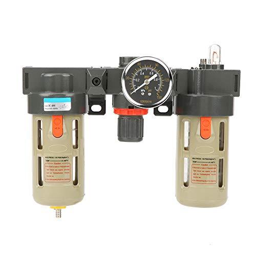 Regulador de filtro de aire con medidor, G1/2 Regulador de presión de filtro de tratamiento de gas de fuente de aire con medidor
