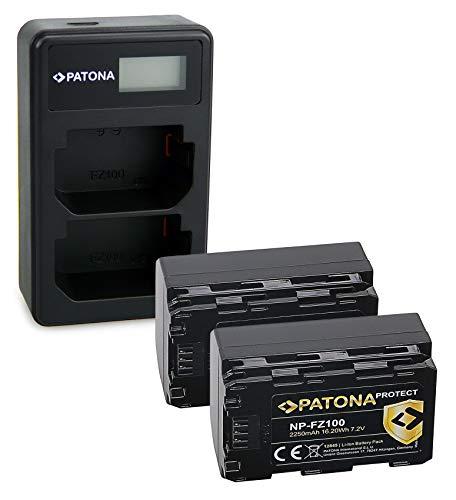 PATONA Cargador Doble LCD USB con 2X Protect V1 Bateria NP-FZ100 Compatible con Sony Alpha 6600, A9, A9 II, A7R III, A7 RIV