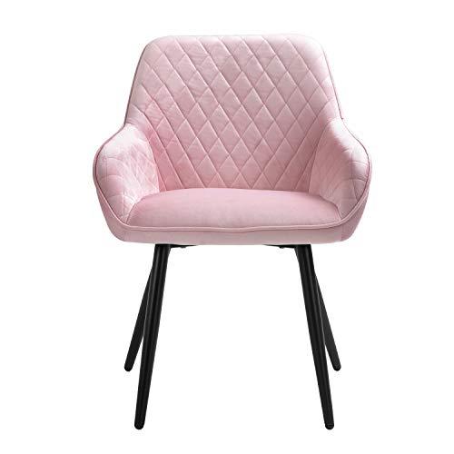 Sigtua, Polsterstuhl umgebener Design-Esszimmerstuhl aus Samt Pink Lehnstuhl edel Design Küchenstuhl Wohnzimmerstuhl...