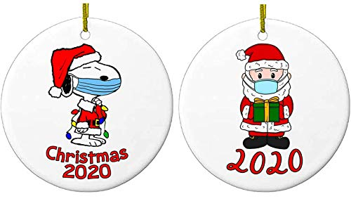 PLMM 2020 Christmas Ornaments, 3 Inch Cute Dog Santa Claus Merry Christmas Decorations Newest Theme Creative Gift Tree Ornament Kit Hanging Accessories for Home Indoor Outdoor Decor(2PCS)