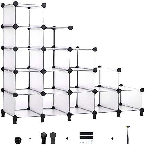 ANWBROAD 15-Würfel schrittweise Schuhablage platzsparende Schuh-Speicher-Organisator Kunststoff modular Schrank für Schrank Schlafzimmer Flur Eingang 115,5 × 36,6 × 93,3cm weiß LCS16TX