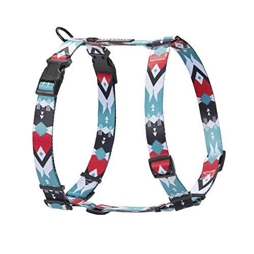 HAVNBERG Hundegeschirr Gr. L, Brustumfang 64cm - 100cm, Brustgeschirr, Geschirr für große Hunde, Breite 2,5cm, schwarz, türkis, rot, weiß, Navajo Design