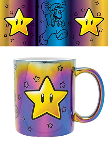 Nintendo FMG25308 Tasse aus Metall, 315 ml / 11 oz-Super Mario (Star Power)