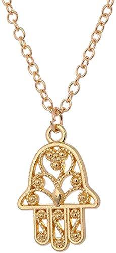 LBBYMX Co.,ltd Collar Collar en Forma de Mano Collar Hueco religioso Vintage con Colgante de Plata Antiguo Regalo de joyería turca para Mujer Collar
