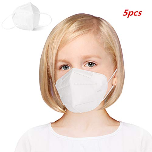 Ggdoo Boca Máscara 4 / 6pcs niños de 4 Capas KN95 Mascarilla Anti- Niebla Haze Prueba de Polvo a Prueba de Viento PM2.5 máscara de protección para los niños Blancos