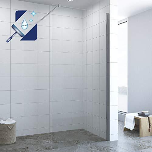 AQUABATOS® 120 x 200 cm Duschwand Glas Duschabtrennung Duschtrennwand Walk in Dusche Glaswand Duschglaswand aus 10 mm transparent Nano Echtglas ESG mit Edelstahl Stabilisator 100 cm