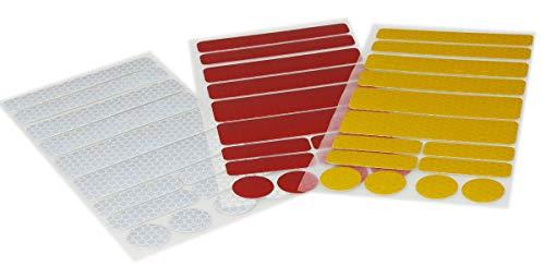 UvV-Reflex Sticker - Reflektoren 42 Stück Light Reflex Reflektor für Buggy, Kinderwagen, Gehstock, Bikes, Helm