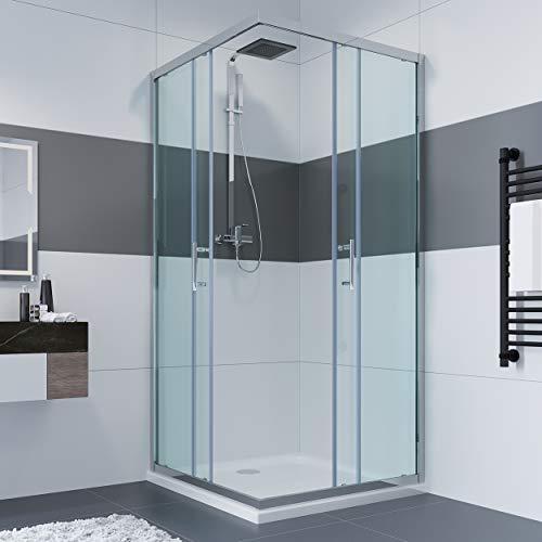 80 x 80 x 195 cm Duschkabine Eckeinstieg Doppel Schiebetür Echtglas Duschwand Duschabtrennung-glas ohne Duschtasse