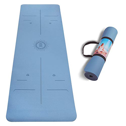 """Yoga Mat with Body Alignment Lines,72""""x24"""" Eco Friendly Non Slip TPE Fitness Mats with Carrying Strap, Thick 1/4 inch Optimal Cushioning for Yoga, Pilates and Floor Exercises"""
