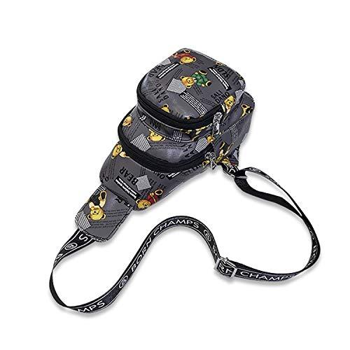 FANDARE Brusttasche Sling Bag Herren Damen Schultertasche Sling Rucksack Mädchen Junge Umhängetasche Sporttasche für Wandern Sport Reisen Joggen Schule Chest Bag Wasserdicht PU Grau