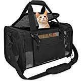 Qlfyuu Pet Carrier Airline Approved,Dog Carriers for Small Dogs 15lbs,TSA Approved Pet Carriers for Small Dogs,Cat Travel Carrier for Small Medium Pets Dogs Cats,Soft Sided Pet Cat Carrier,Black