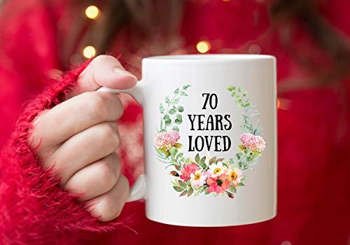Divertidas tazas de café de 70 años, regalo de 70 años para mamá, taza de 70 cumpleaños, regalo para mujer de 70 años, taza de café de la abuela, gran regalo de abuela, Nana, taza de café de 11 onzas