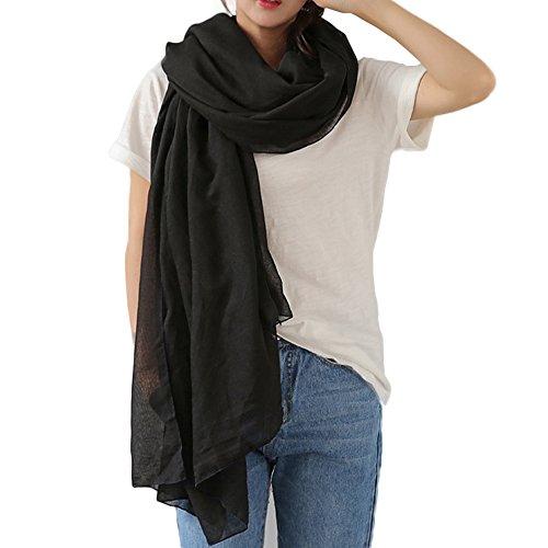 WKTRSM Bufandas Mujer Invierno Estolas Elegantes Fulares Moda Larga Grandes Suave Chales Mantón para Primavera Otoño Invierno 180cm * 145cm (Negro)