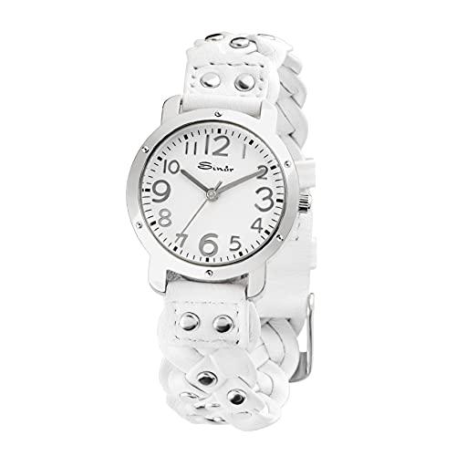 SINAR Reloj de pulsera analógico con correa trenzada y remaches de piel, acero y cuarzo TL-70-0