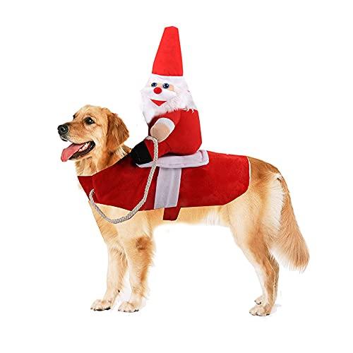 GODPAK  Disfraz de Navidad para animales de compaa, disfraz divertido para perro, disfraz de Cow-Boy para perro, ropa de Halloween divertida (Santa Claus, largo)