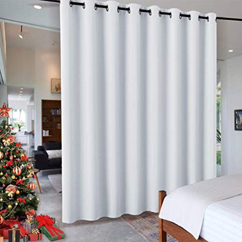 RYB HOME White Separation Room Divider Heavy Duty Share Space Decorative Gift Christmas, Partition Grommet Top Drape for Patio Sliding Door / Clinic / Hospital, W 15 x L 8 ft, Greyish White, 1 Panel