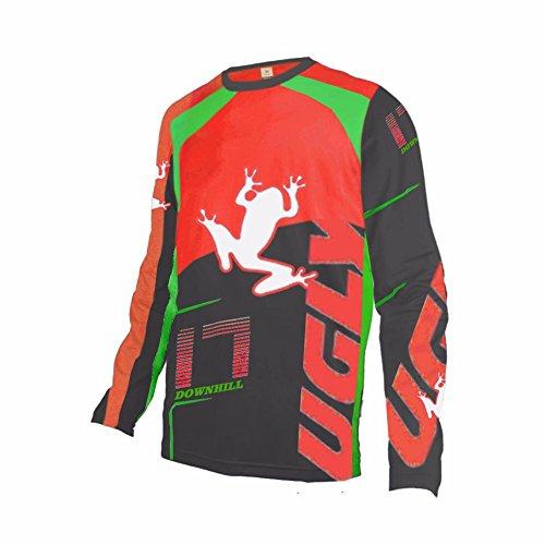Uglyfrog 2018 MTB Downhill Trikot Kompressionsshirt Herren Langarm Fitness T-Shirt Freizeit Männer Laufshirt Printed und Klassisch Top Funktionswäsche SJFHB04