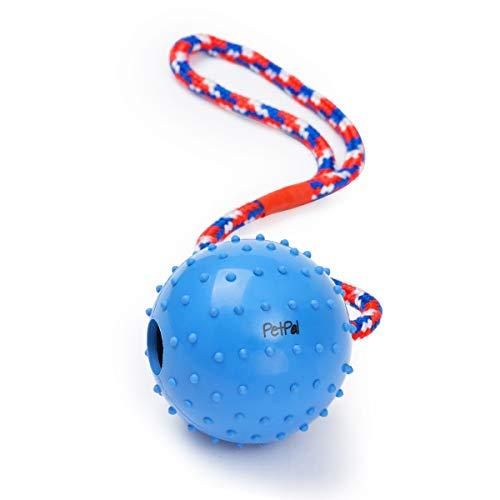 PetPäl Ball mit Seil Naturkautschuk - WurfballHundespiel-Ball mit Schnur - Hundeball Ø 7cm - Bälle Spielzeug am Seil für Hunde - Kauspielzeug aus Naturgummi - Hunde-Spielzeug