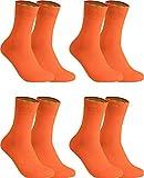 gigando – Socken Herren Baumwolle Uni Farben 4er oder 8er Pack in Premiumqualität – bunt farbige Strümpfe für Anzug, Business, Freizeit – ohne Naht - in orange Größe 43-46