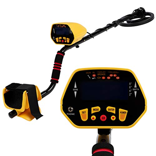 """GYZJ Metal Detector for Kids and Adults, 8.5"""" Treasure Hunting Detectors with Larger Back lit LCD Display&Waterproof Search Coil &3 Operation Modes"""
