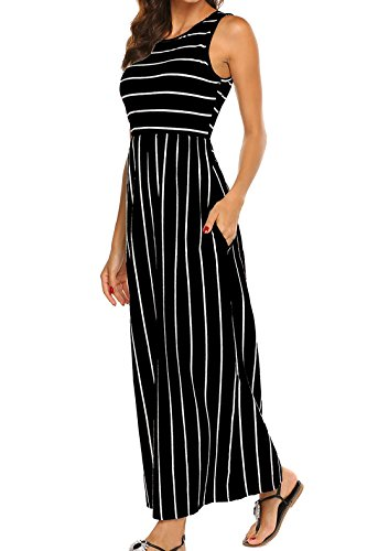 Womens Sleeveless Round Neck Striped Tank Maxi Dress with Pockets (Black, Large)