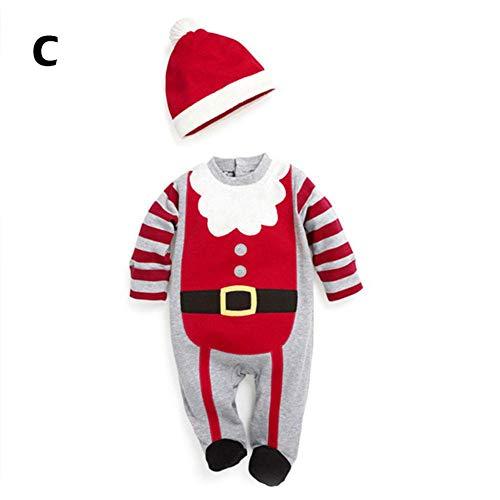 Kerstman kostuum rompler unisex baby rompler mutsen kinderen baby cosplay overall pyjama kerstset C:80