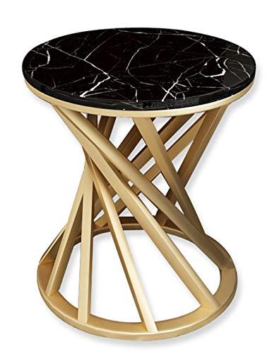 Eenvoudige moderne marmer salontafel/smeedijzeren bijzettafel, hoekbank zijkast hoek balkon, rond, zwart en wit optioneel (bureaublad Diameter: 40cm / 50cm)