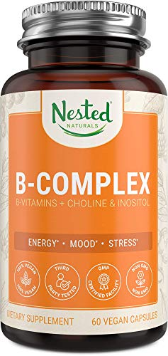 Nested Naturals B-Complex Vitamins Plus Choline & Inositol High Potency B1, B2, B3, B5, B6, B7, B9 Supplement with Pure Methyl B12 - 60 Vegan Capsules | Energy, Immunity, Metabolism & Mood Booster