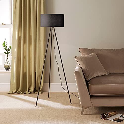 CGC Black Grey Large Tripod Floor Lamp Light Large Modern Round Drum Shade Lounge Dining Room Bedroom Kitchen (Black)
