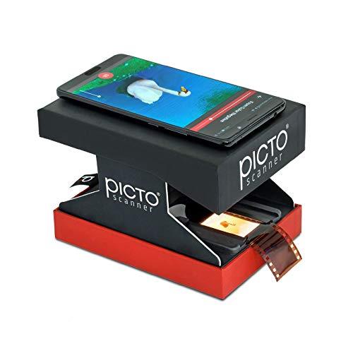PictoScanner – Scannen und Speichern Ihrer 24x36 mm Negative und Dias mit Ihrer Smartphone-Kamera. Der Faltbare und praktische Scanner ist aus kräftiger Pappe hergestellt und mit LED-Licht Versehen.