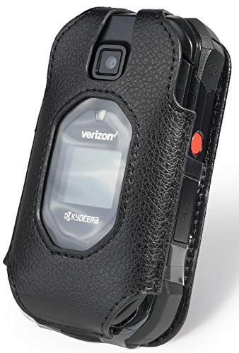 DuraXV Extreme Case, Nakedcellphone [Black Vegan Leather] Form-Fit Cover with [Built-in Screen Protection] and [Metal Belt Clip] for Verizon Kyocera DuraXV Extreme Flip Phone E4810