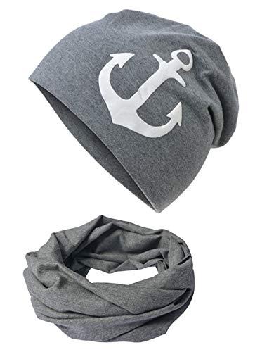 Miobo Baby Kinder Jersey Slouch Beanie Long Mütze mit Anker Unisex Baumwolle Trend Babybeanie-WeissAnker-Anthrazit-43