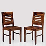 Furniselan Sheesham Wood Study Dining Chair Set of 2 for Home Hall Living Room Furniture for Home Hall Living Room (Teak Finish Dining Table Chair) Diwali Collection Furniture