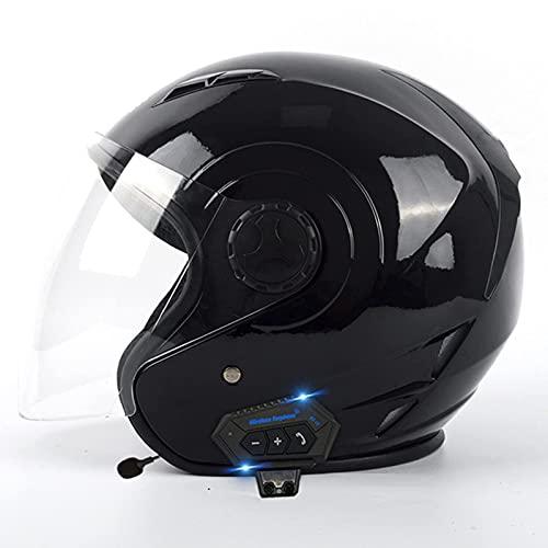 FFYN Casco Jet para Motocicleta con Bluetooth para Hombres y Mujeres, Aprobado por Dot/ECE Casco para Jet de Choque para Motocicleta con Visera Transparente para el Sol, para Adultos,