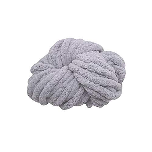 ZJONE Dicke Wolle Für Decke Stricken Häkeln Weich Armstricken Wollgarn Roving Baumwolle Zum Handstricken Für Riese Klobig Sticken Werfen Sofa Decke (Hellgrau)