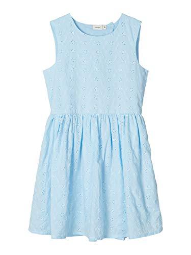 NAME IT Damen Kleid Lochstickerei 152Dream Blue
