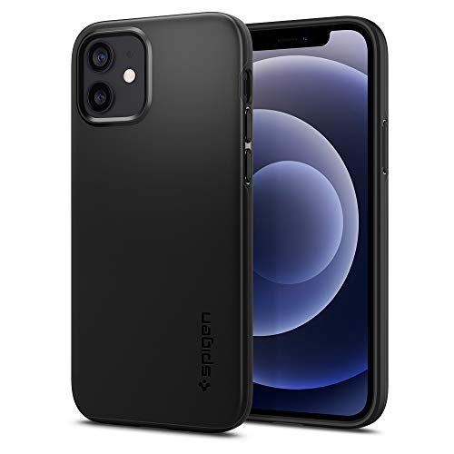 【Spigen】 iPhone 12 ケース/iPhone 12 Pro ケース 6.1インチ 対応 超極薄 レンズ保護 超薄型 超軽量 指紋防止 マット仕上げ ワイヤレス充電対応 アイフォン12 ケース アイフォン12プロケース シュピゲン パープル シン・フィット (ブラック)