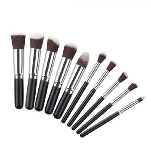 MEISINI Makeup Brush Soft Nature Hair Women Facial Beauty Tools Powder Eyeshadow Blush Kit, Black Silver