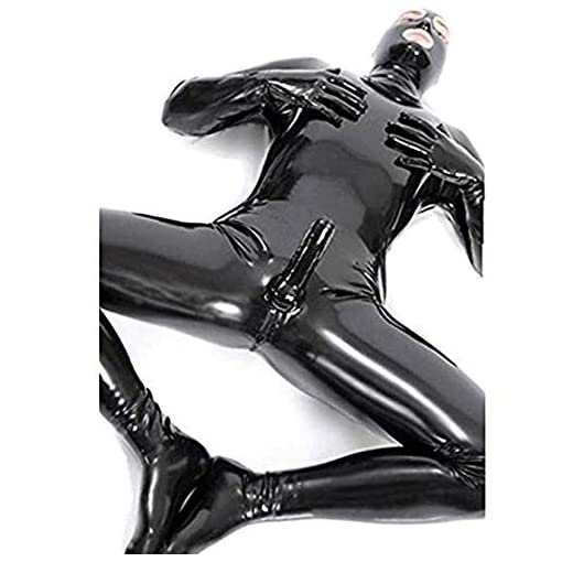 HYWL Sexy Men and Women Wet Look DS Stage Catsuit Clothing Prisoner Patent Leather Jumpsuits Cosplay Catsuit Gloves Mask…