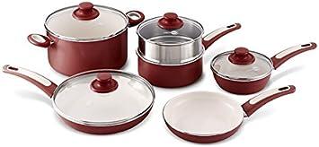 Burgundy GreenPan Focus 10pc Ceramic Non-Stick Cookware Set