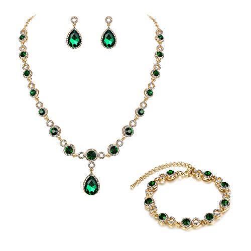 BriLove Wedding Bridal Necklace Bracelet Earrings Jewelry Set for Women Crystal Infinity Figure 8 Teardrop Y-Necklace Dangle Earrings Tennis Bracelet Set Emerald Color Gold-Toned May Birthstone