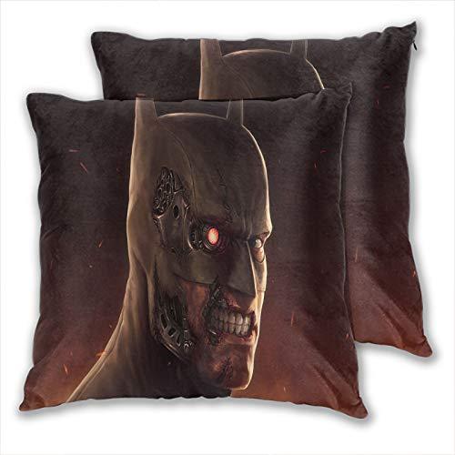 Anzonto - Set di 2 federe per cuscino per terminator e letto, motivo Batman sfigurato per divano, letto, sedia, 60 x 60 cm