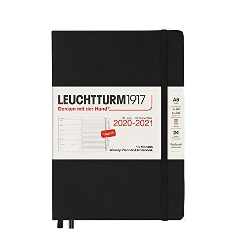 LEUCHTTURM1917 Wochenkalender und Notizbuch 2021 Hardcover Medium (A5), 18 Monate, Schwarz, Englisch