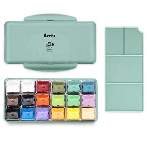 Arrtx Gouache Pintura Set, 18 colores x 30ml Diseño único de taza de gelatina con estuche portátil paleta, perfecto para pintura acrílica, graffiti y más, ideal para estudiantes, artistas (Primavera)