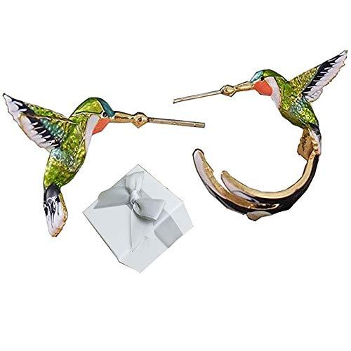 GOTRGEOOUS A Pair Cute Hummingbird Earrings,Fashion Hummingbird Stud Earrings, flying hummingbird painting oil earrings for Women Wife daughter lover Girl Gift