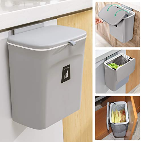 2.4 Gallon Kitchen Compost Bin for Counter Top or Under Sink, Hanging Small Trash Can with Lid for Cupboard/Bathroom/Bedroom/Office/Camping, Mountable Indoor Compost Bucket, Gray