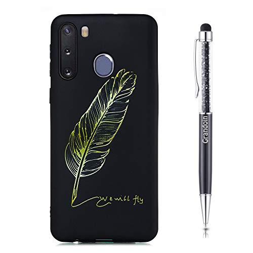 Grandoin für Samsung Galaxy A21 Hülle, Süßes Muster Schwarz Ultra Dünn Stylische Weiche TPU Silikon Schutz Handy Hülle Handytasche Etui Schale Schutzhülle Case Cover Tasche (Feder)